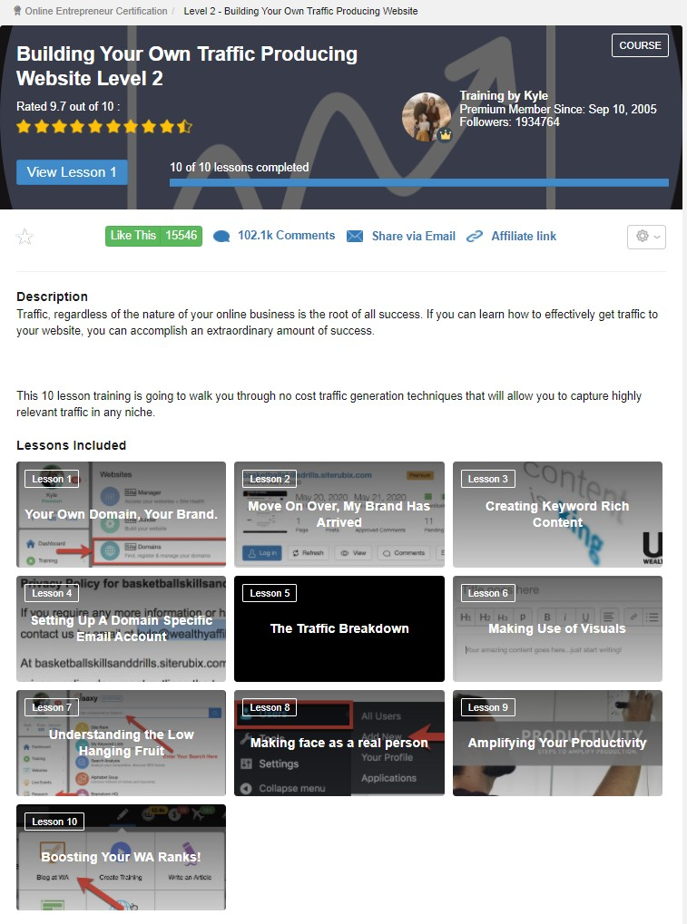 wealthy affiliate lesson 2